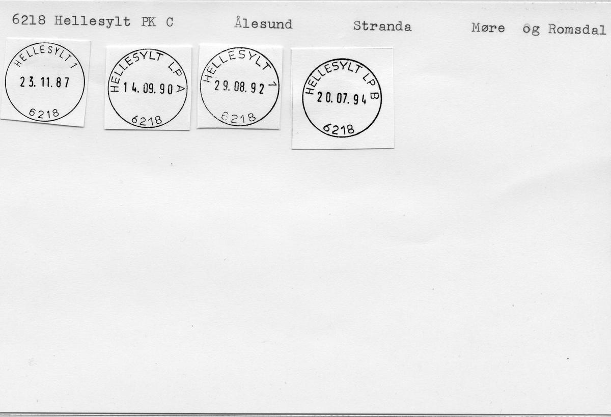 Stempelkatalog. 6218 Hellesylt. Ålesund postkontor. Stranda kommune. Møre og Romsdal fylke.