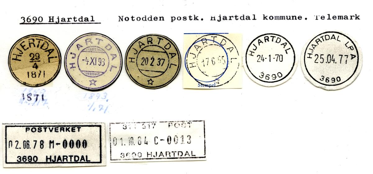 Stempelkatalog: 3690 Hjartdal, Notodden postk., Hjartdal kommune,