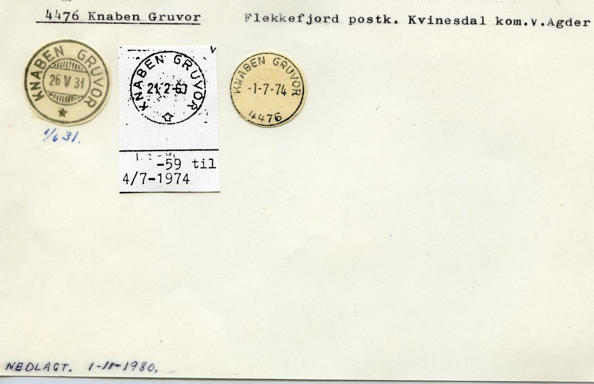 Stempelkatalog 4476 Knaben Gruvor, Flekkefjord, Kvinesdal kommune, V.Agder