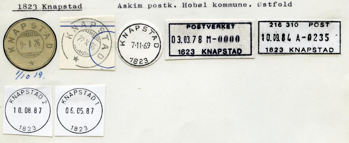 Stempelkatalog 1823 Knapstad, Askim, Hobøl kommune, Østfold