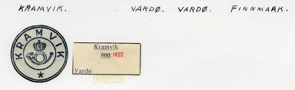 Stempelkatalog  Kramvik, Vardø kommune, Finnmark