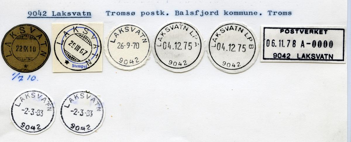 Stempelkatalog 9042 Laksvatn, Tromsø, Balsfjord, Troms