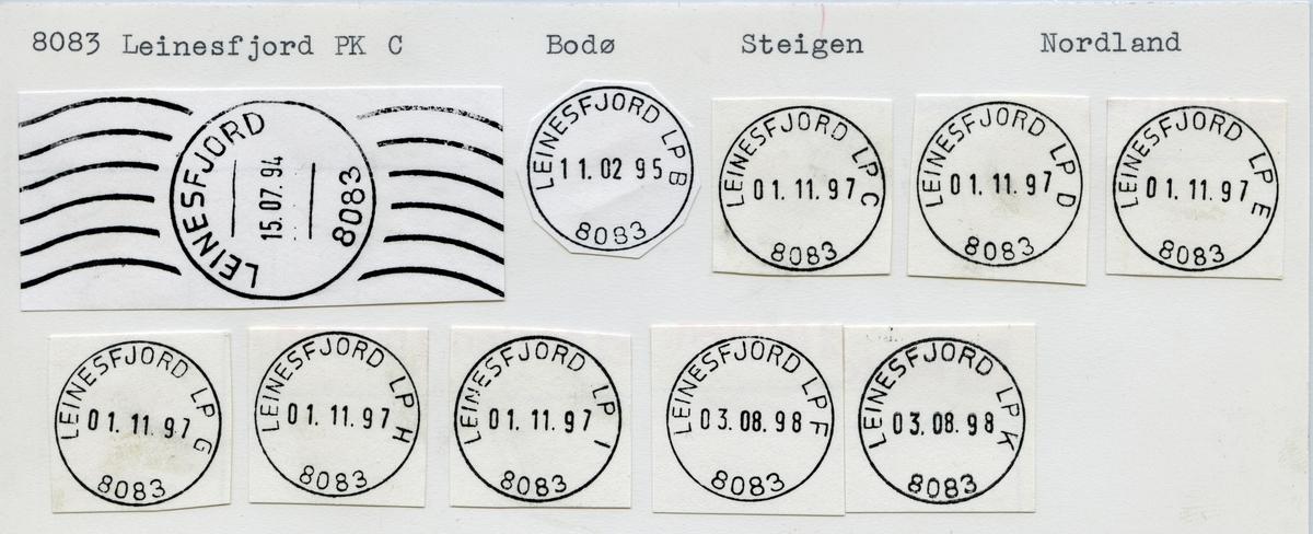 Stempelkatalog 8083 Leinesfjord (Leinesfjorden, Leirangerfjord,) Bodø, Steigen, Nordland