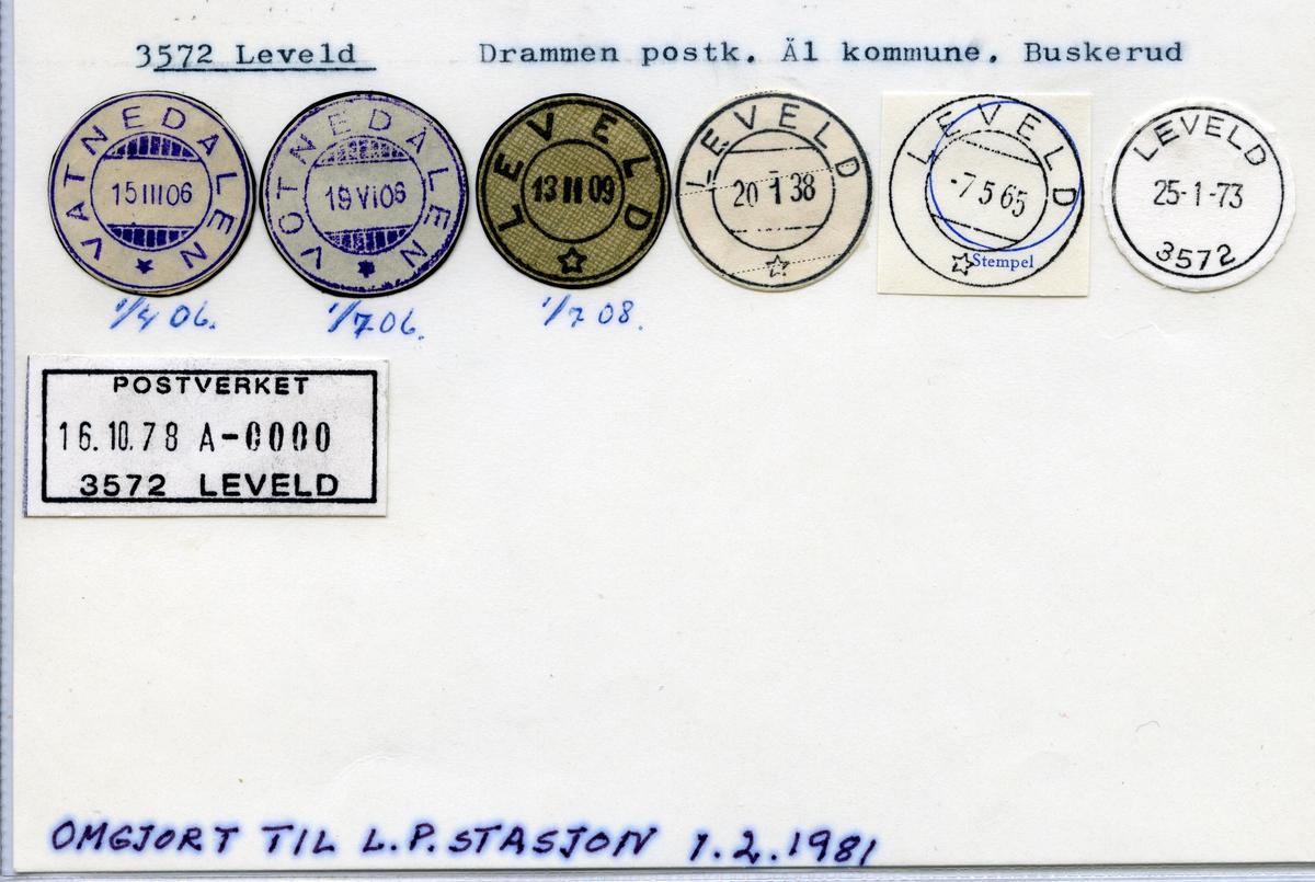 Stempelkatalog 3572 Leveld (Vatnedalen, Votnedalen), Drammen, Ål, Buskerud