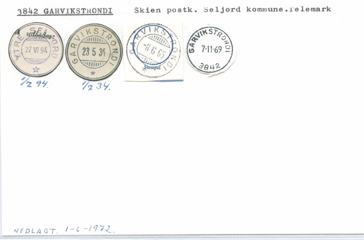 Stempelkatalog 3842 Garvikstrondi (Ytre Seljord), Skien, Seljord, Telemark