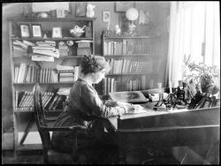 Kvinne, interiør, spisestue, skrivebord,