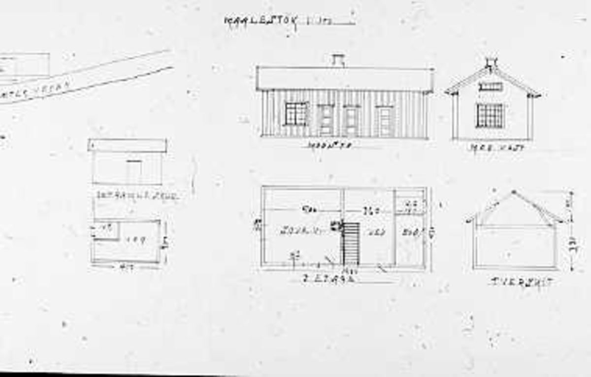 Hustegninger, plantegninger, fasadetegninger, gjestestua