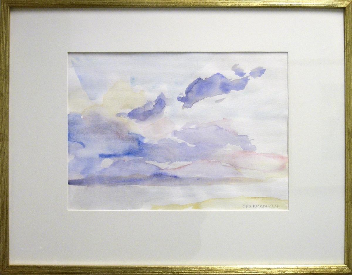 En av seks akvareller innkjøpt fra Galleri Kampen 1980.Tittel på skilt: LandskapFormat - rammemål: 40,5 x 52 cm