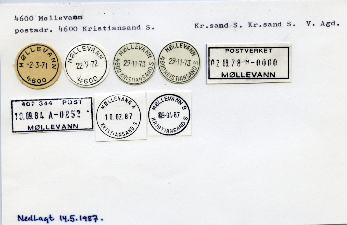 Stempelkatalog  Møllevann, Kristiansand kommune, Vest-Agder