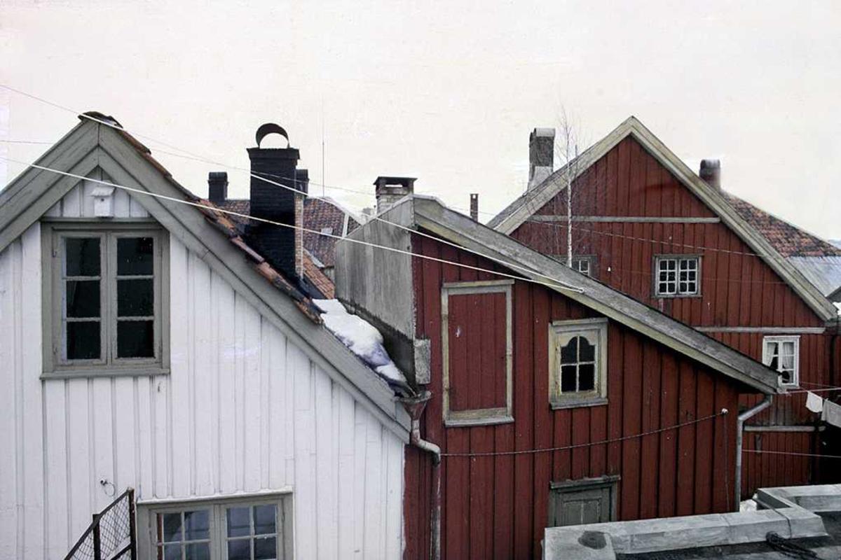 Fagforeningenes hus, bakgård. Gavler på tre hus.