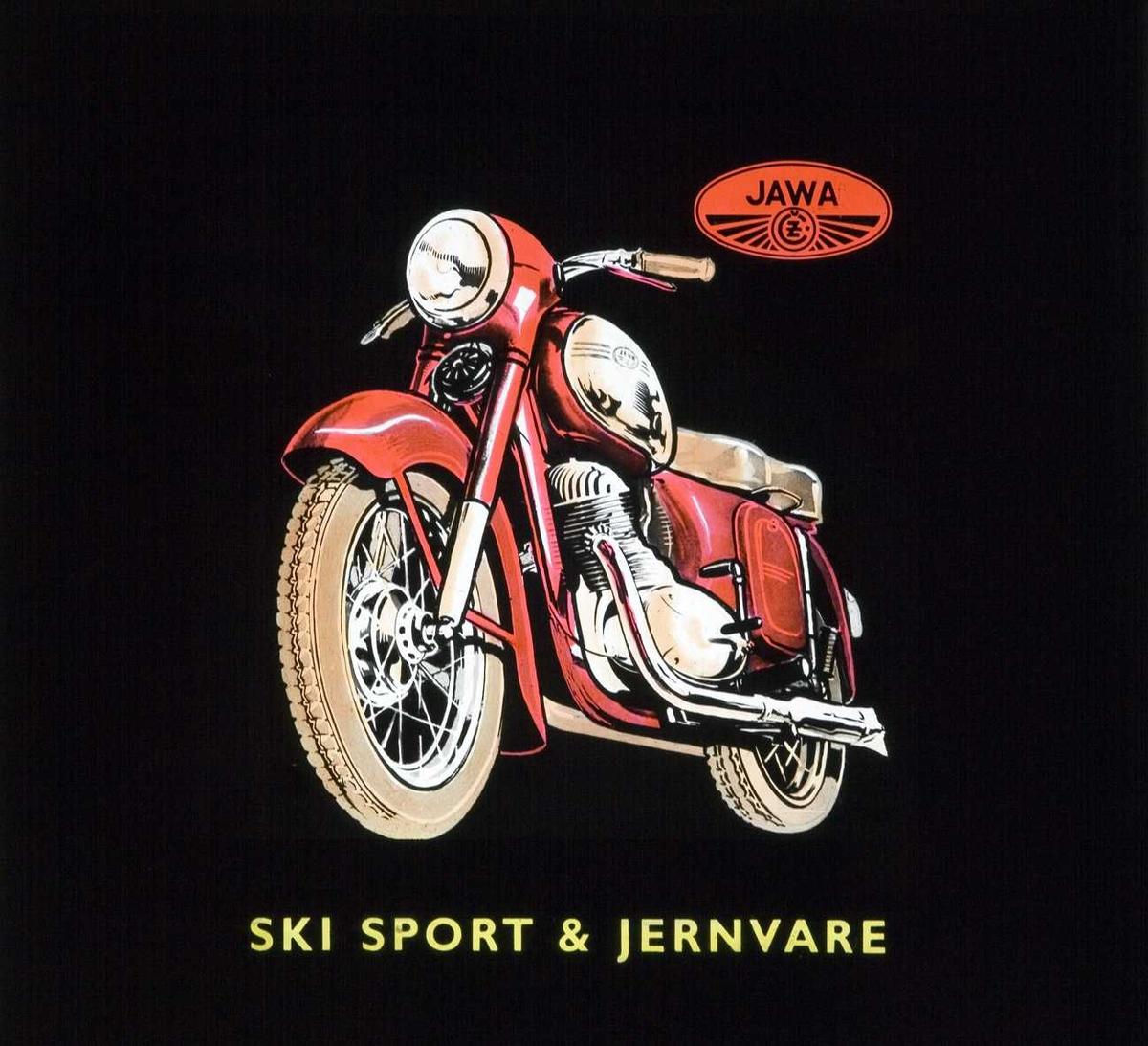 Kinoreklame fra Ski. Jawa motorsykkel fra Ski sport & jernvare.
