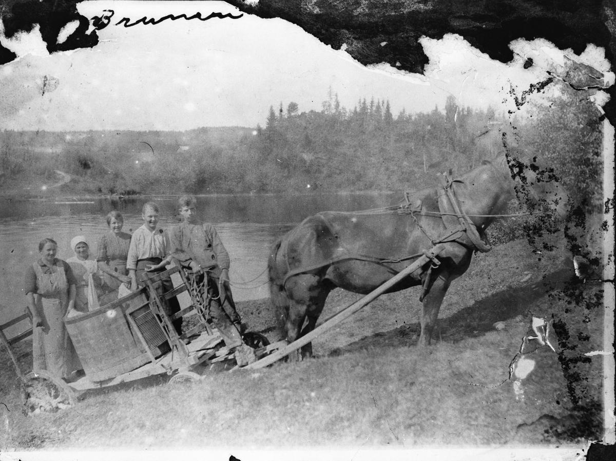 Klesvask kjøres med hest og vogn.  Ø. Valstad
