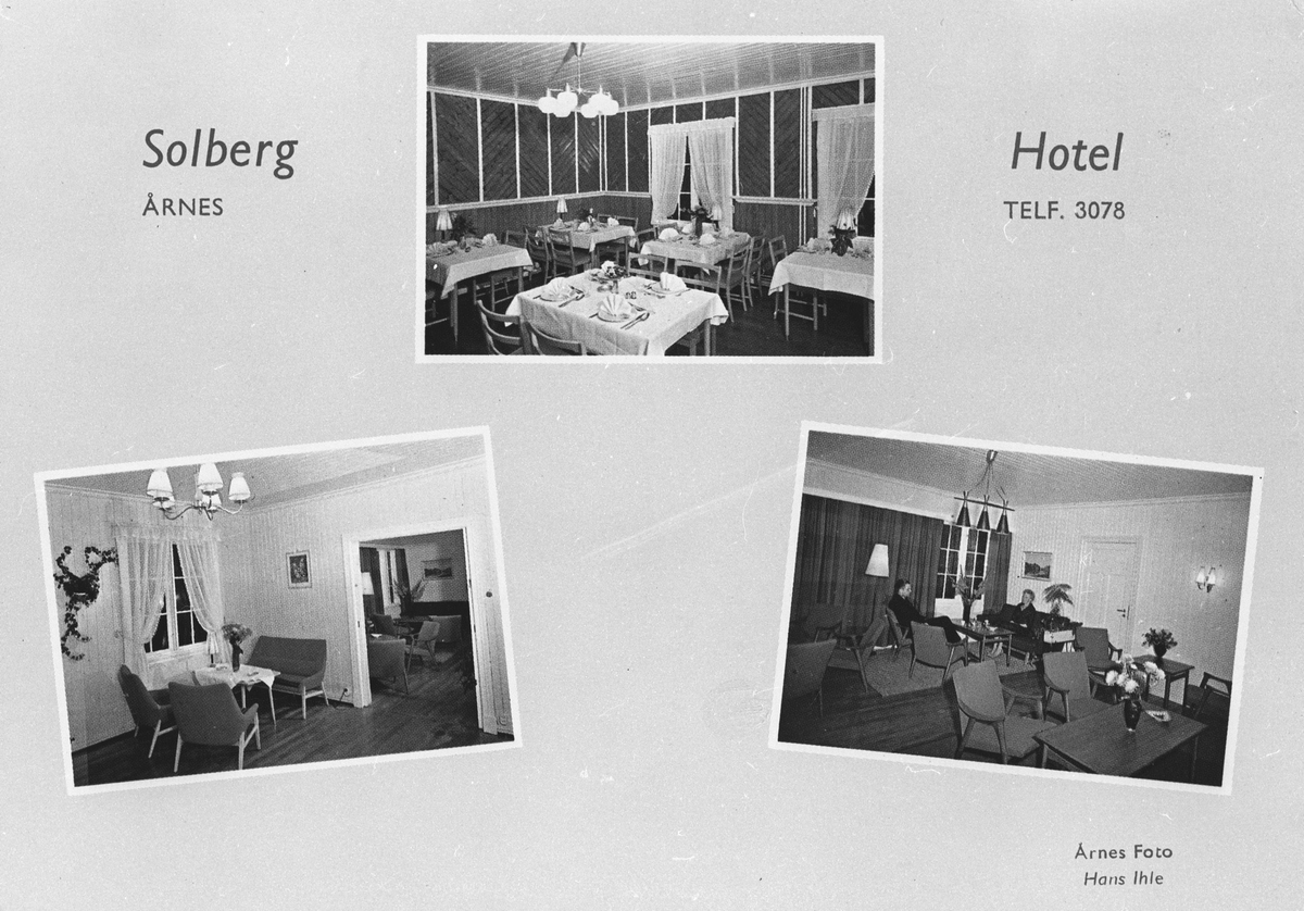 Interiør Solberg hotel. (Postkort)