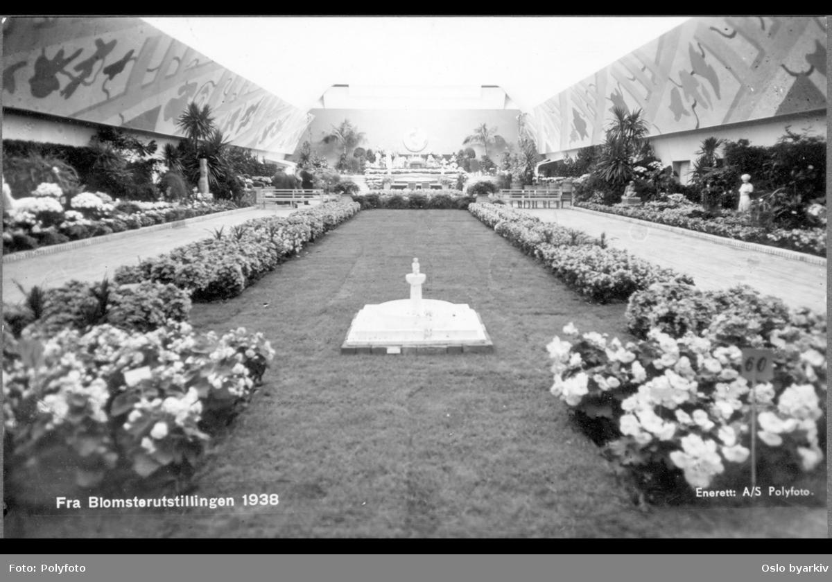 """Utstillingsområdet med gressplen og blomsterbed. Langs veggene bed med blomster, prydbusker og trær. Fontene med liten skulptur i forgrunnen. Albumtittel: """"Utstillinger"""""""