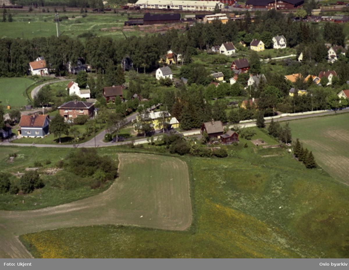 Grorud. Villabebyggelse og jernbanelinje. (Flyfoto)