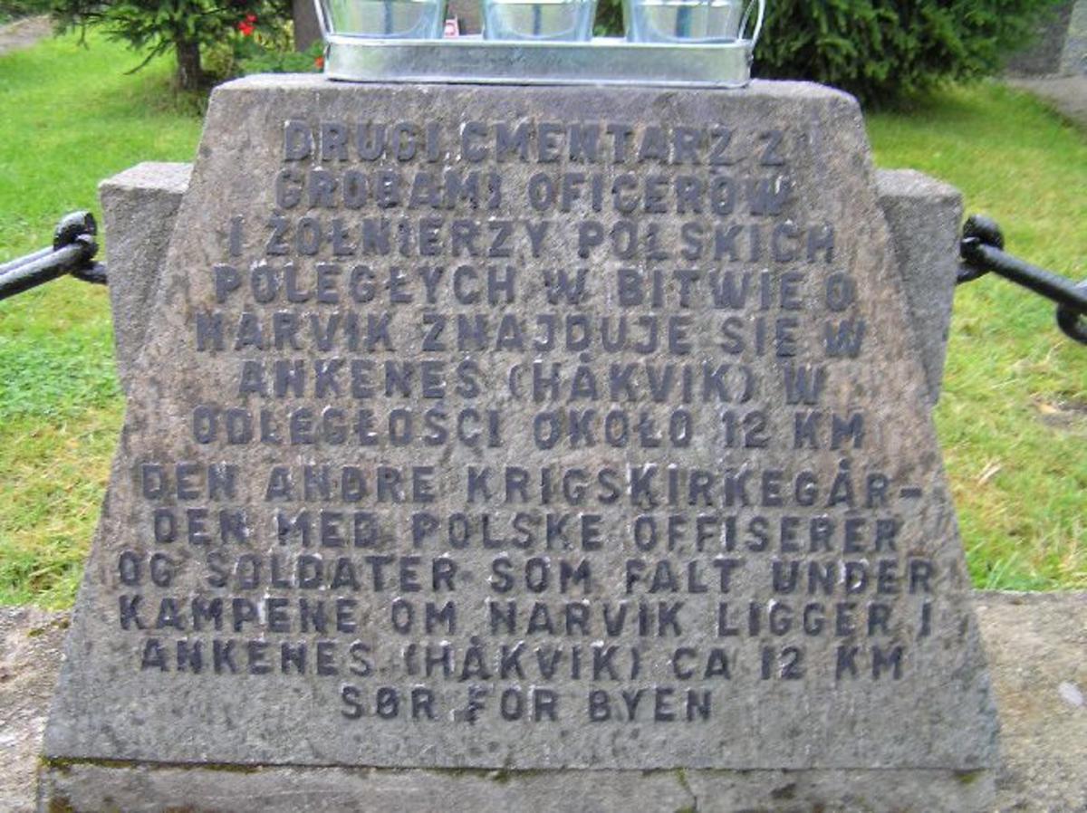 Ordfører Sverre Øvergård avduket monumentet 16. juni 1966. Det nye monumentet er en erstatning for det opprinnelige monument som ble montert i 1945-46. Navneplaten og emblemet fra det utskiftede monument er plassert i Krigsminnemuseet i Narvik. I tillegg finnes det en mindre henvisningsstein montert i 1968 m/følgende inskripsjon Den andre krigskirkegården med polske offiserer og soldater som falt under kampene om Narvik ligger i Ankenes (Håkvik) ca 12 km sør for byen  Kjøreanvisning: Narvik nye gravlund ligger i utkanten og nord for byen, like ved E6. synlig fra E6.