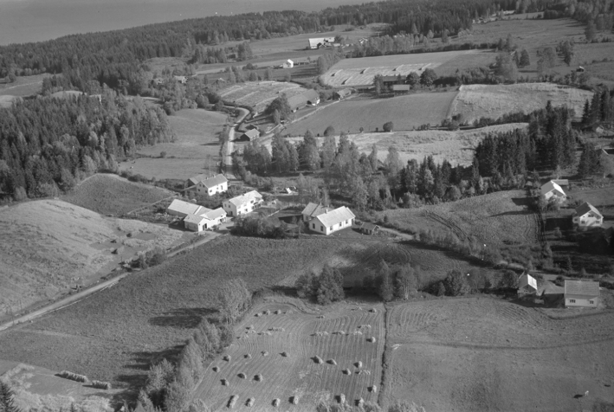 Flyfoto, Myrgård handel, Myrvang forsamlingslokale, Nes. 23. 09. 1954.