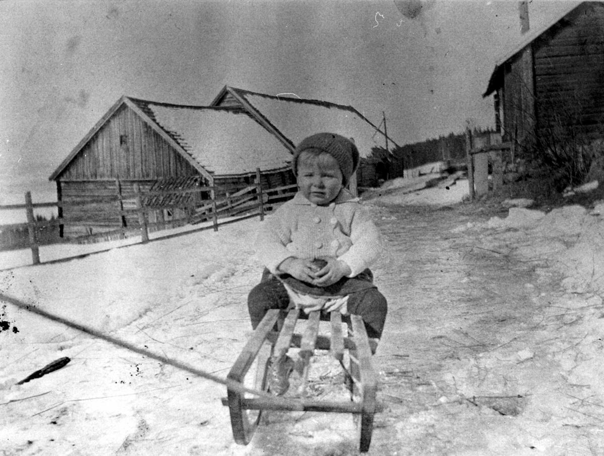 Gerhard Vien f.1917 på kjelke utenfor gamle uthus på Grimsrud, Helgøya.