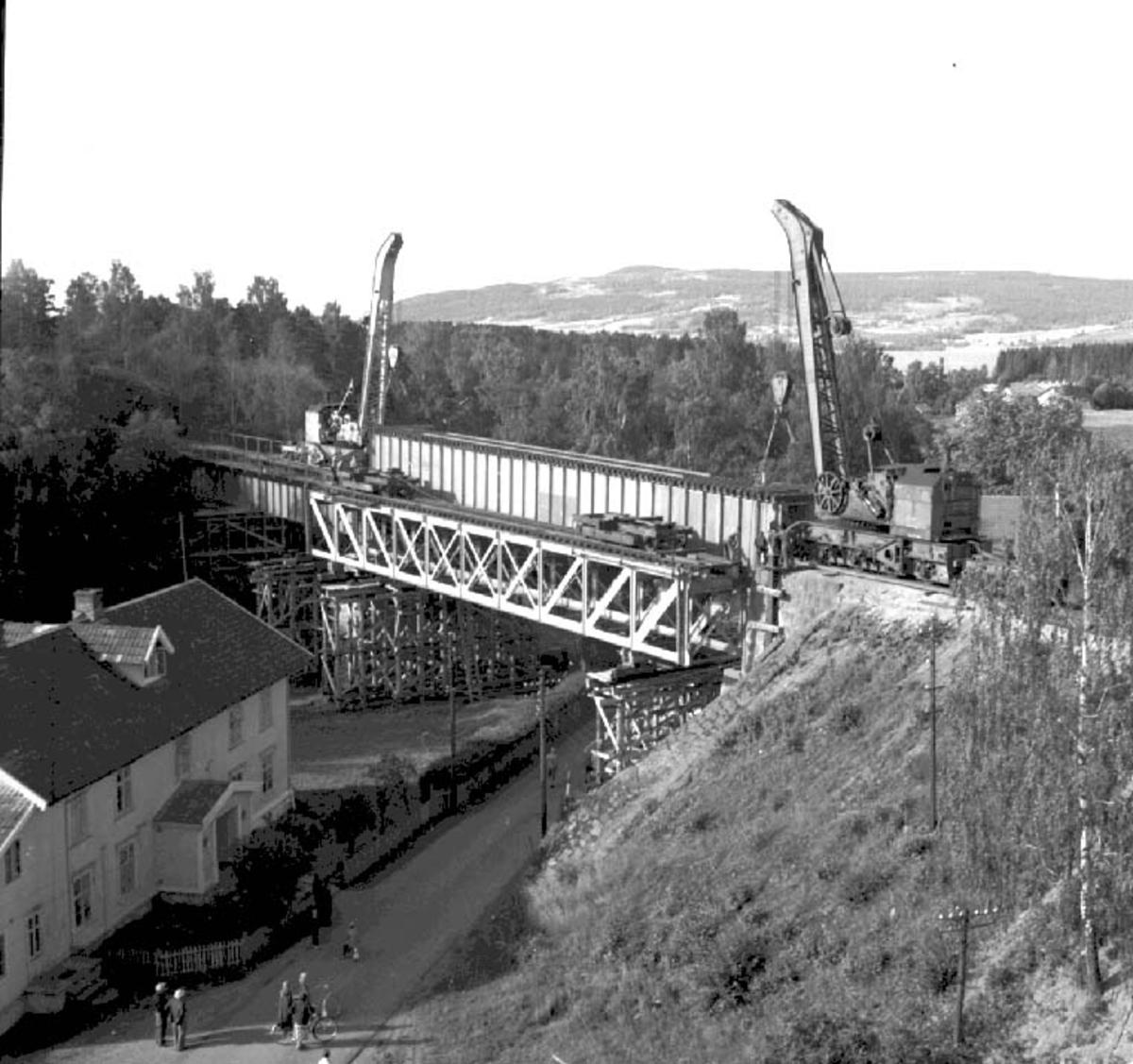 MOELVEN, BRU OVER MOELVA, SPENN 2, JERNBANEBRU, 24-7-1956