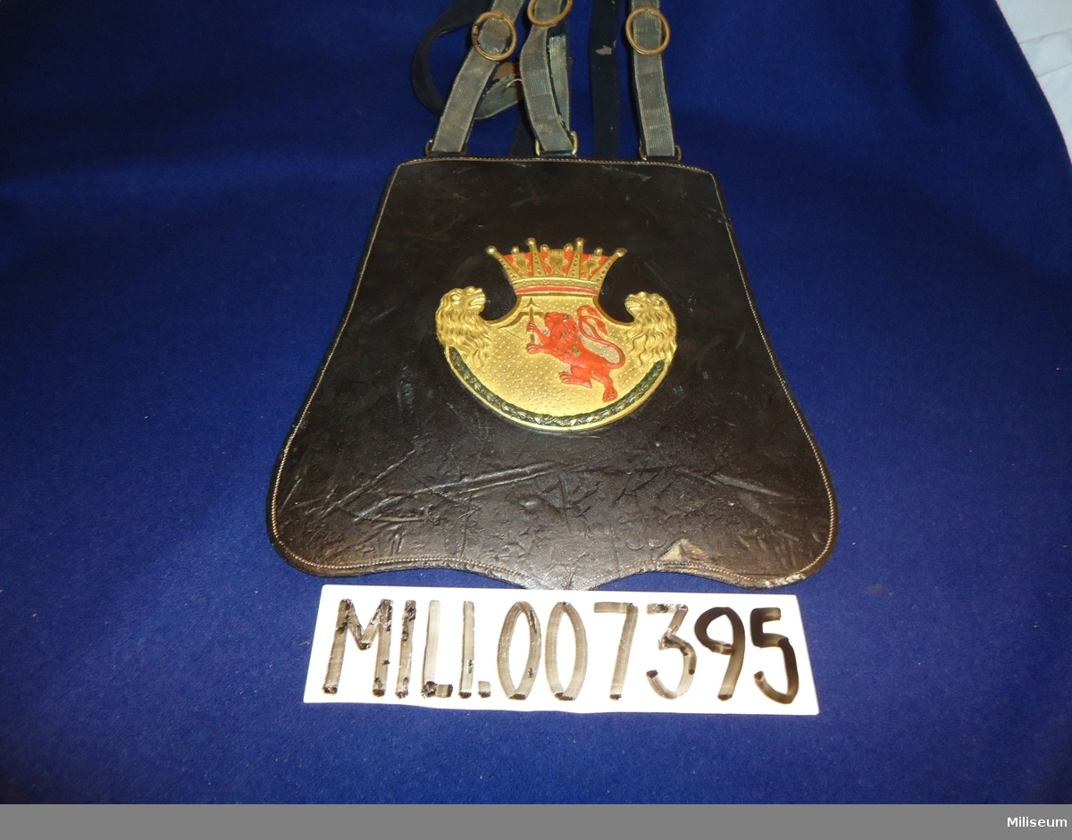 Sabeltaska m/1795 för officer vid Smålands Lätta Dragonregemente/Smålands Husarregemente. Med remmar.