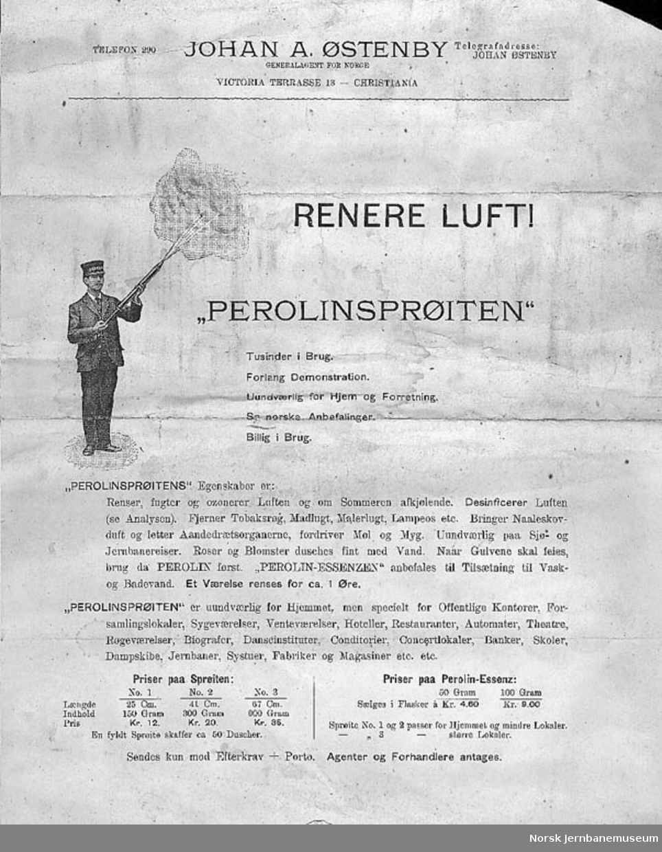 Perolinsprøyte - desinfeksjon av luften i personvogner - Perolin
