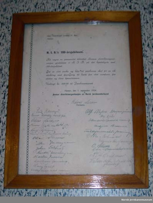 Adresse : hilsen - fra NSBs 100 års jubileum
