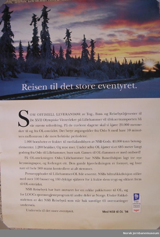 Reklameplakat OL'94 : Reisen til det store eventyret