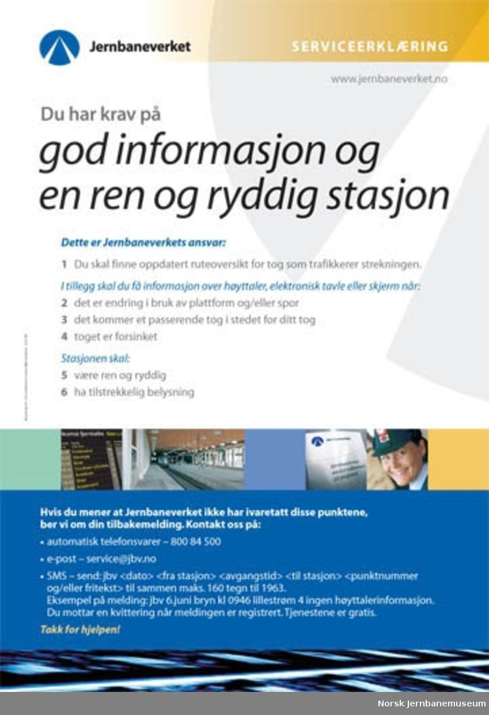 Plakat : Jernbaneverket Serviceerklæring : Du har krav på god informasjon og en ren og ryddig stasjon