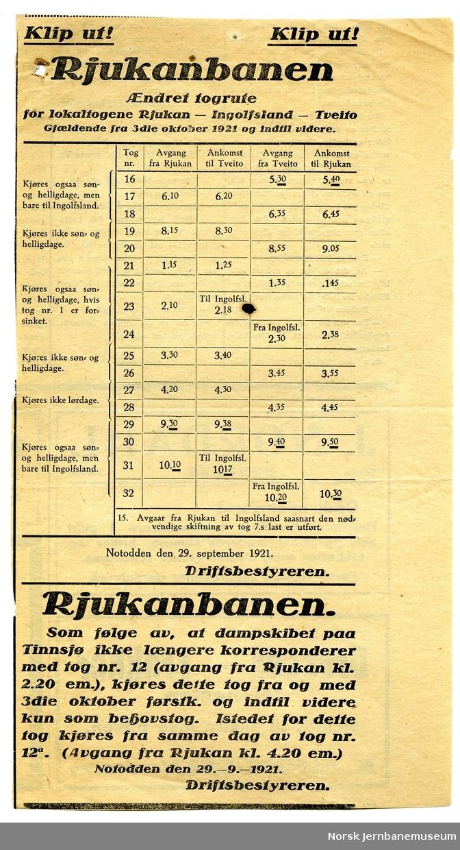 Annonse : rutetabell Rjukanbanen : lokaltogene