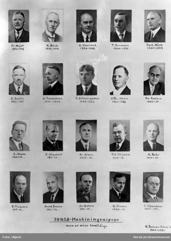 Portretter av 20 maskindirektører ved NSB