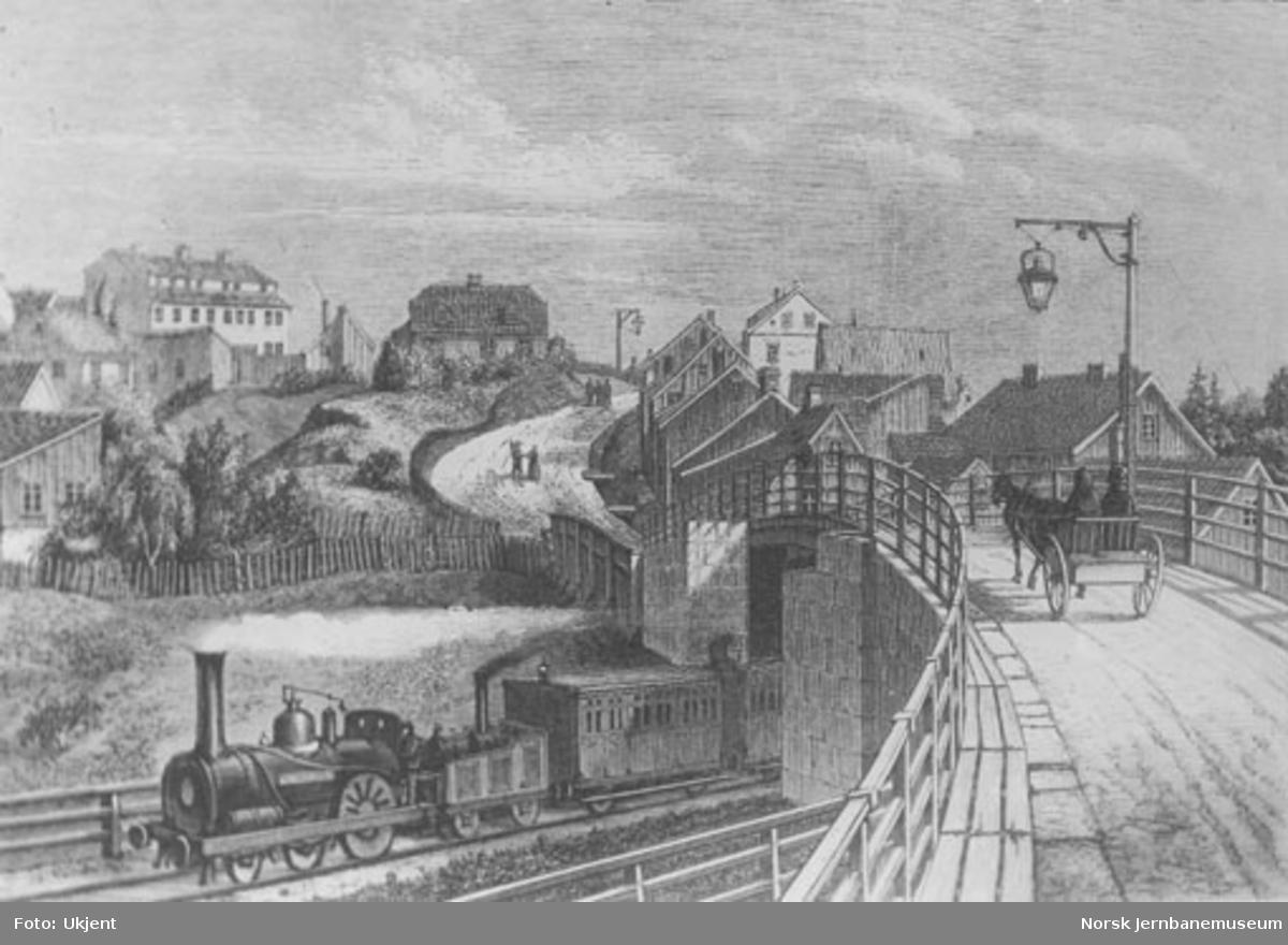 Tegning av jernbanetog ved Galgeberg
