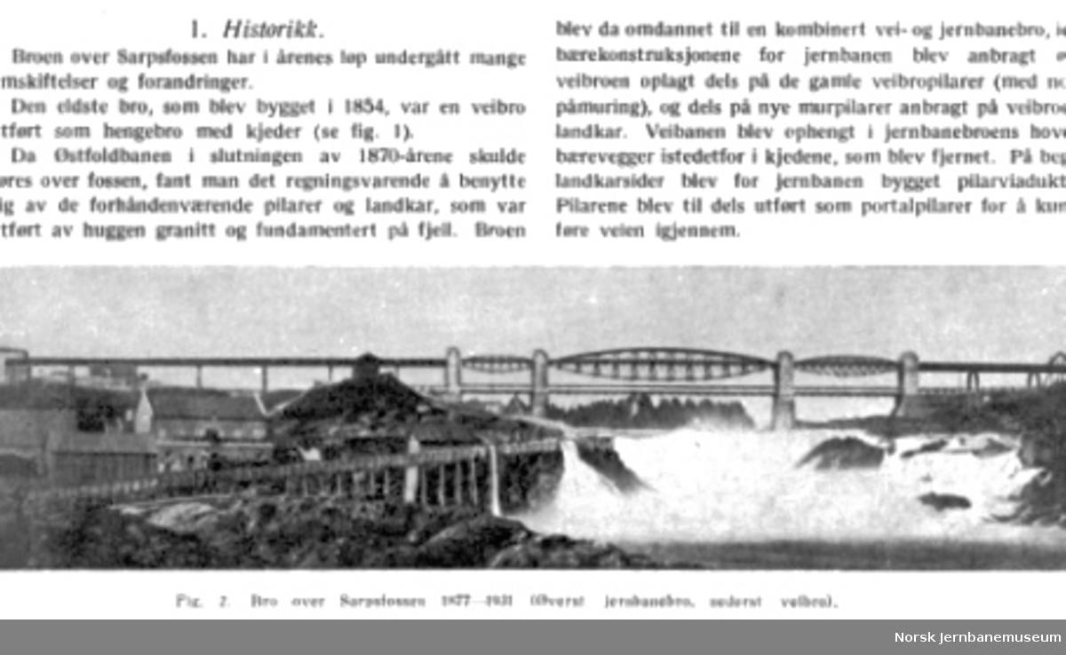 Foto av bru over Sarpsfossen i NSB Tekniske Meddelelser nr. 2/1937