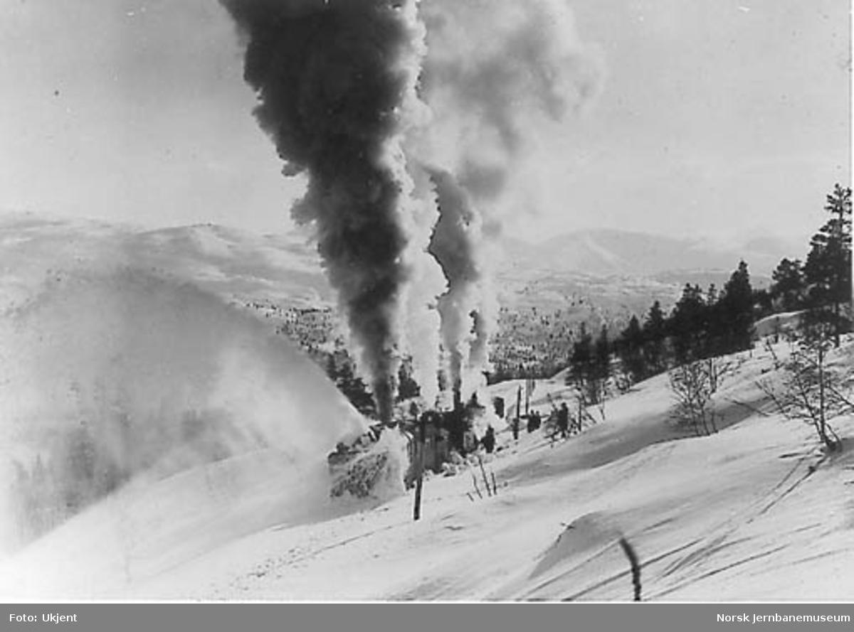 En roterende snøplog skjøvet av tre damplokomotiver i arbeid - like øst for Helle tunnel