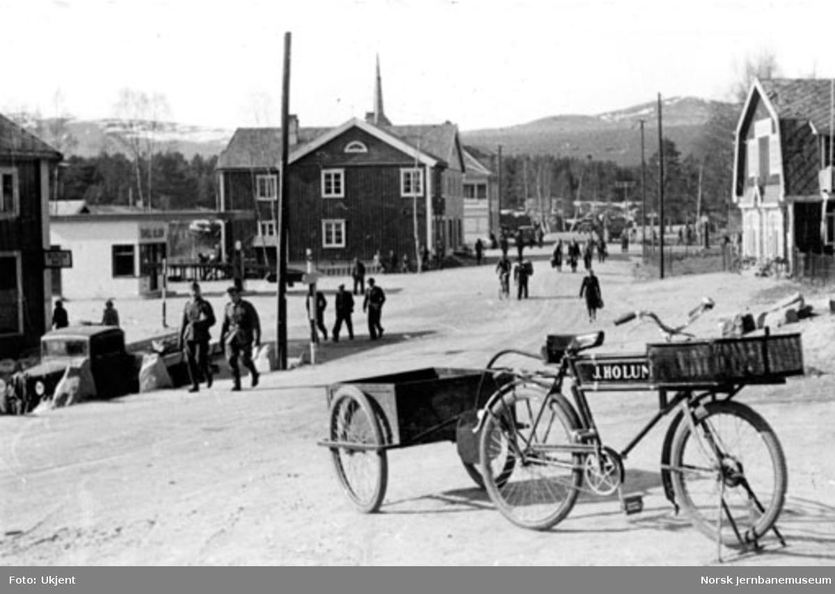 Dombås sentrum med tyske soldater