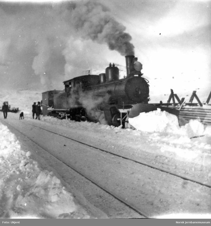 Damplokomotiv type 21a med stor frontplog og sporrenser