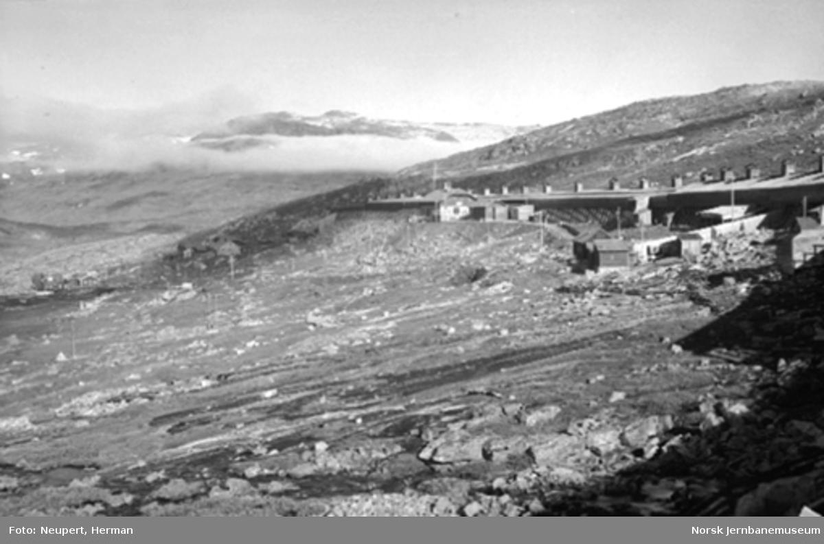 Oversiktsbilde fra Hallingskeid med stasjonen og snøoverbygget