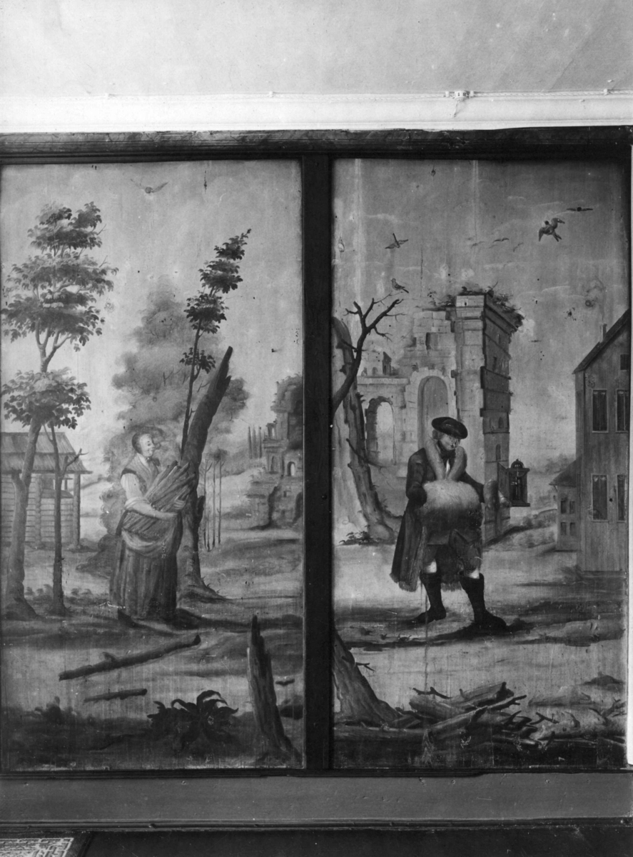 Hønefoss - Ringerike, Gladtveds hotell. Høst og vinter. Malt av Peder Aadnes.