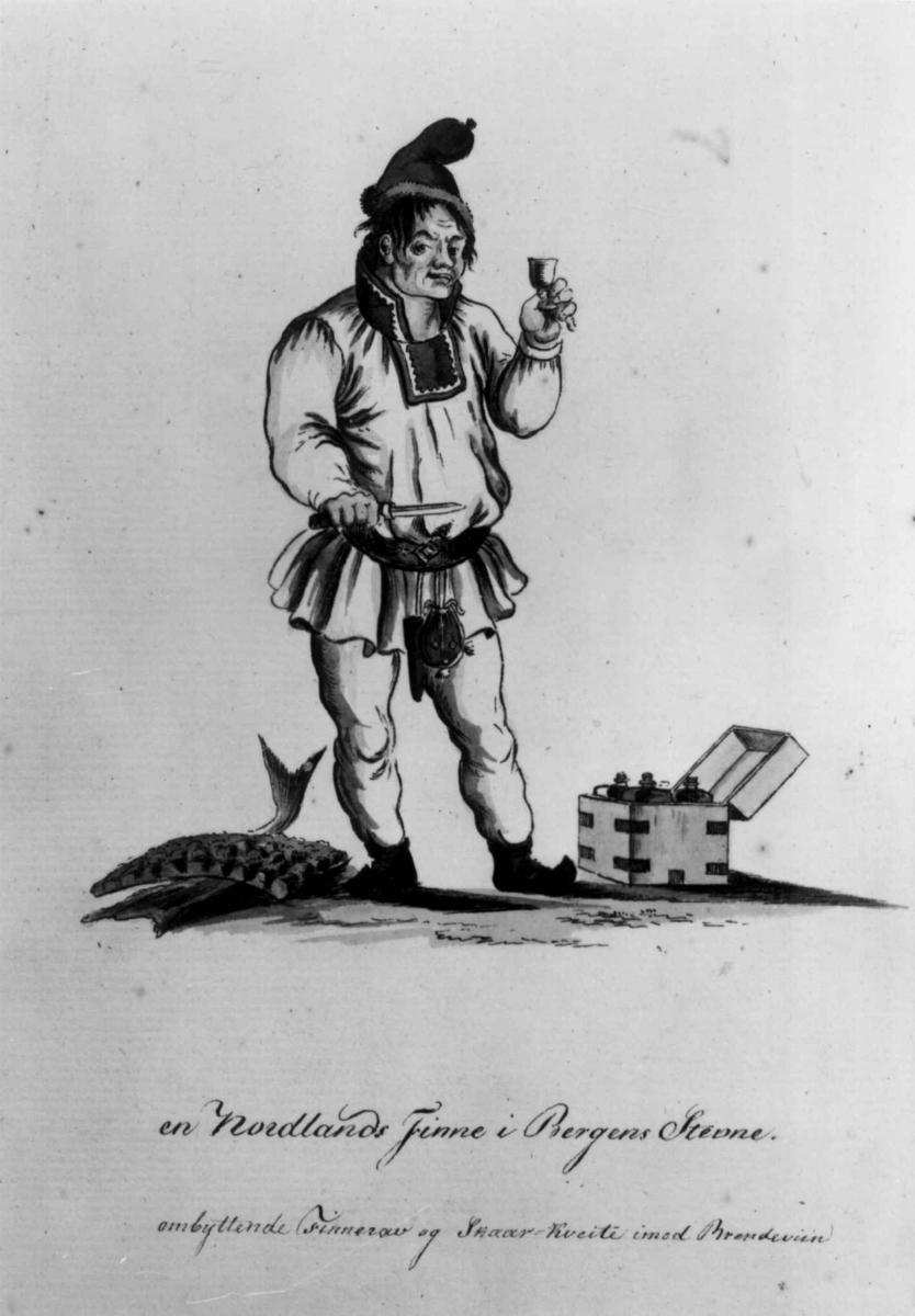En same står med et glass i hånden. Akvarell av Dreier. Nordland.