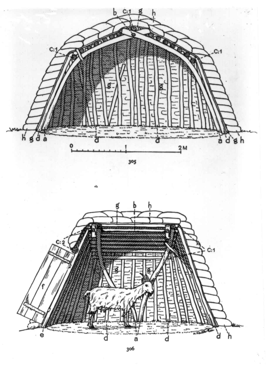Tegning av geitegammekonstruksjoner med en geit. Fra E. Manker: Acta lapponica 4.