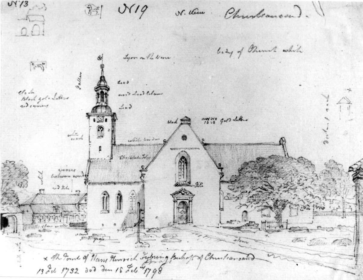 """KristiansandFra skissealbum av John W. Edy, """"Drawings Norway 1800""""."""