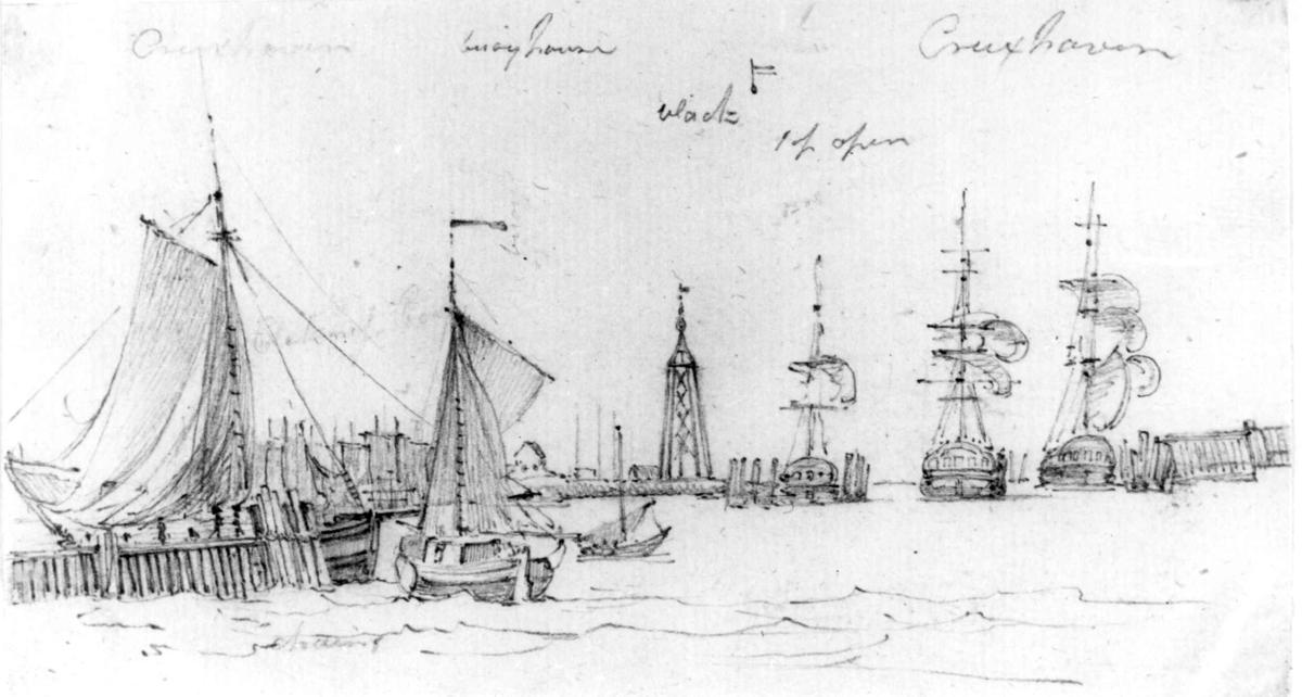 "CuxhavenFra skissealbum av John W. Edy, ""Drawings Norway 1800""."
