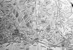 Serie. Avfotografering av kart over Oslo sentrum.