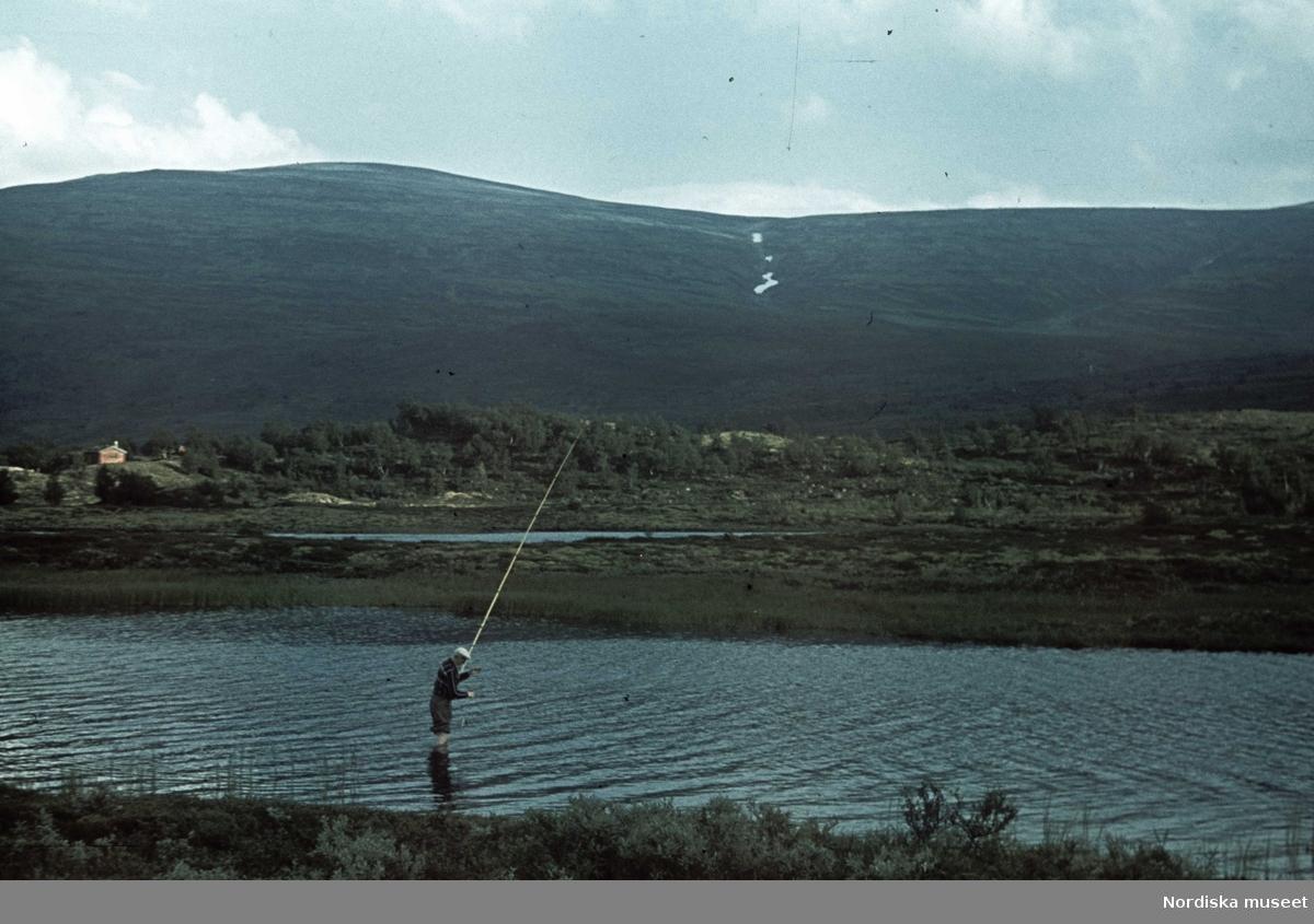 Landskap med en man som fiskar. I bakgrunden fjäll.