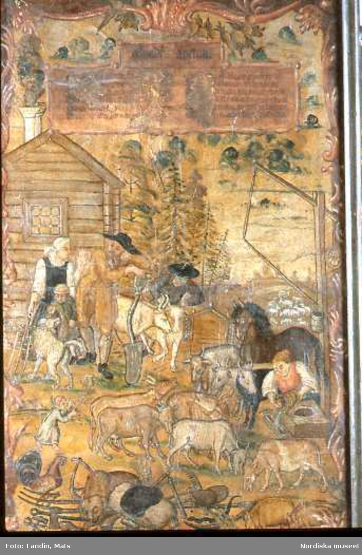 """Bondelyckan. Målning som idylliserar bondens liv på 1700-talet.""""En åtta kos bonde som haver häst,gudfruktig och ärlig god granne därnäst,är lite låghalter,god vän med sin präst samt glad i sitt arbete, den mår allrabäst."""" Nordiska museets föremål inv.nr 37512."""