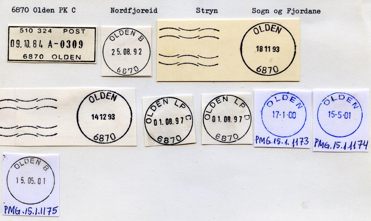 Stempelkatalog  6870 Olden, Stryn kommune, Sogn og Fjordane
