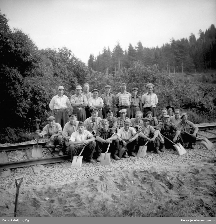 Gruppebilde av banearbeidere, trolig i Furuberget