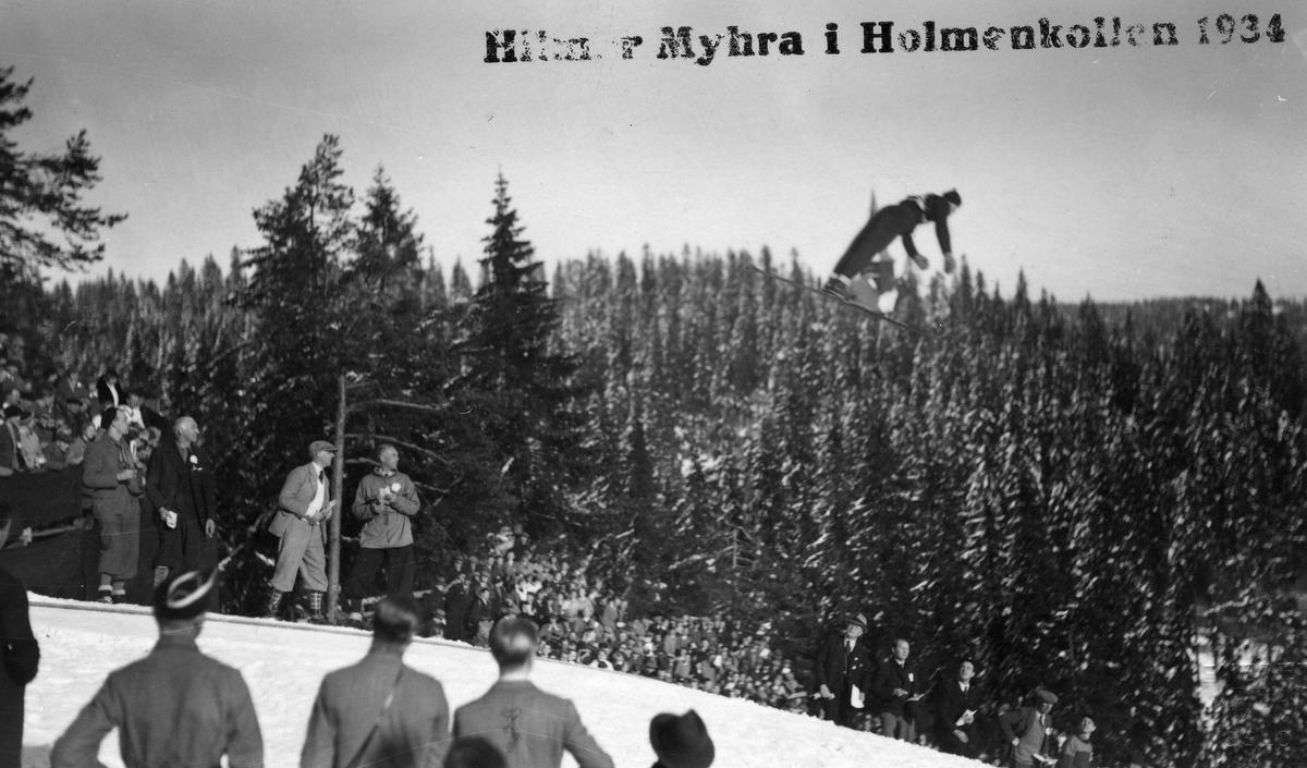 Hilmar Myhra i Hlmenkollen 1934. Hilmar Myhra in the Holmenkollen jumping hill 1934.