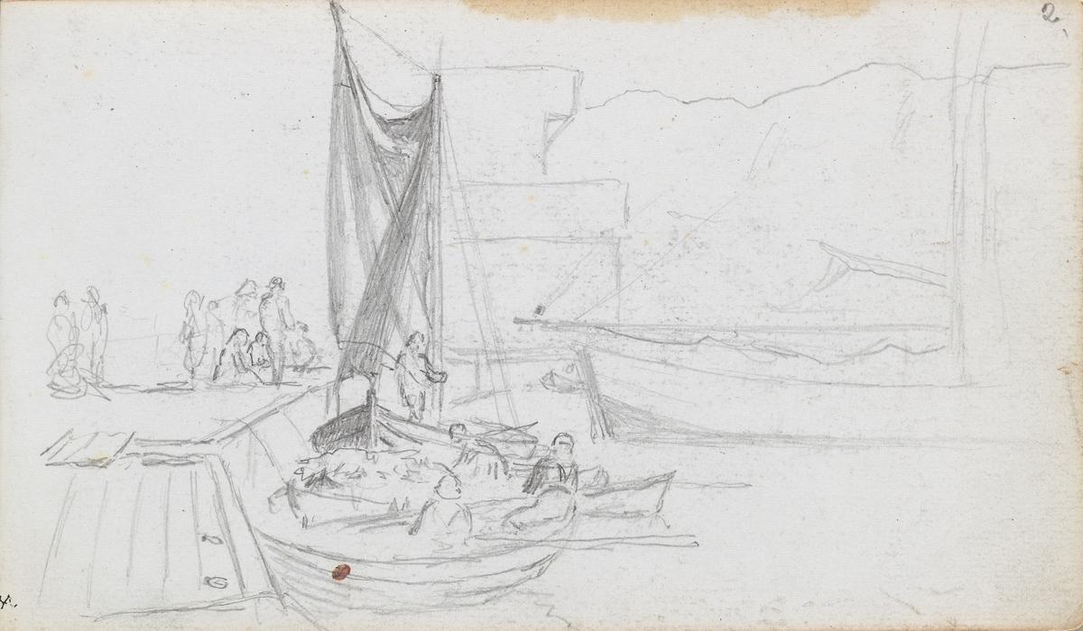 Båter og figurer ved brygge [Tegning]