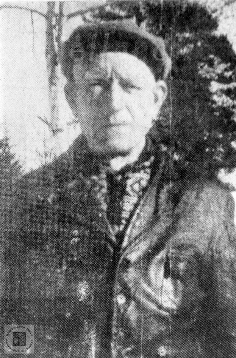 """Portrett av Andreas Øvrebø, """"Rallaren"""" fra Bjelland."""