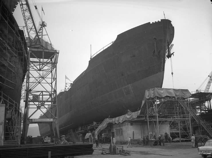 Sjösättning av fartyg nr. 163 M/T Scanthiod.